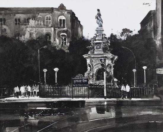 Flora Fountain, painting by Anwar Husain