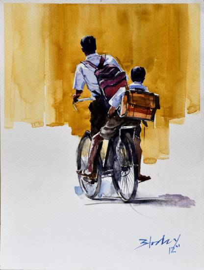 To the School, painting by Anwar Husain