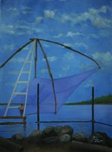 Chinese Fishing Nets, Kochi, Painting by Arun Akella