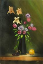 Still Life with Orange and Flowers, Painting by Arun Akella