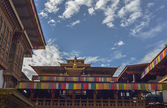 Looking at the sky from Punakha Dzong