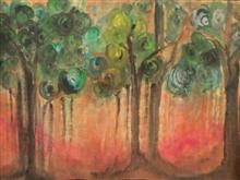 Painting by Anindita Sengupta - Forest of the chanting trees