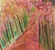 Painting by Anindita Sengupta - Panchgani forest in the monsoons