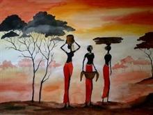 Village Scenery IV, painting by Madhulika Srivastava