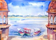 Ghats of Shree Yamuna, painting by Madhvi Dhanak