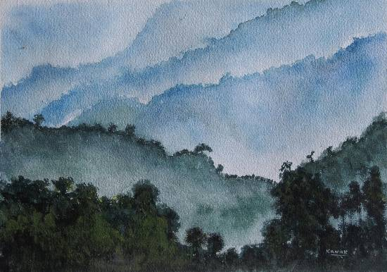Misty mountains, Painting by Emerging Artist Dr Kanak Sharma