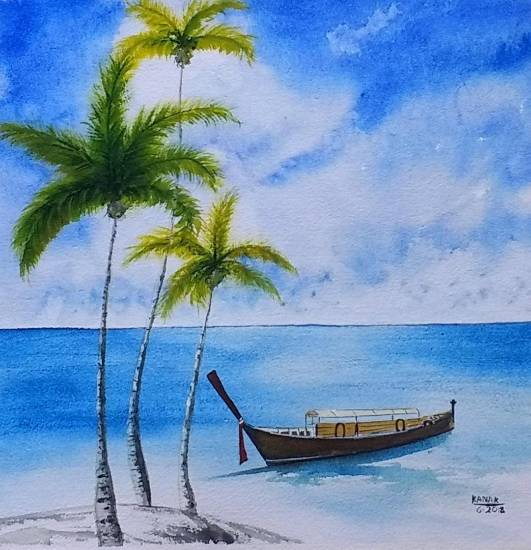 Shades of Azure, painting by Dr Kanak Sharma