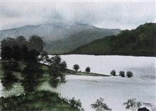 Painting by Dr Kanak Sharma - Panshet during monsoon