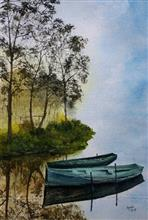 Painting by Dr Kanak Sharma - Docked in the shadow of trees