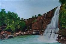 Painting by Dr Kanak Sharma - Rocky water fall