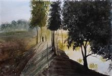 Painting by Dr Kanak Sharma - Trees on bunds