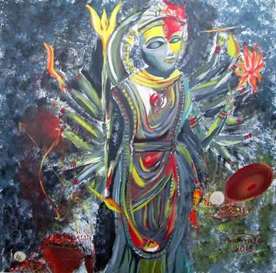 Durga, painitng by Namrata Biswas