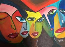 Feminine Outlook, painitng by Namrata Biswas