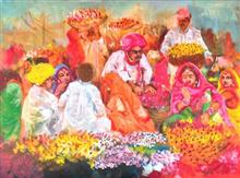The flower sellers, painting by Debjani Datta
