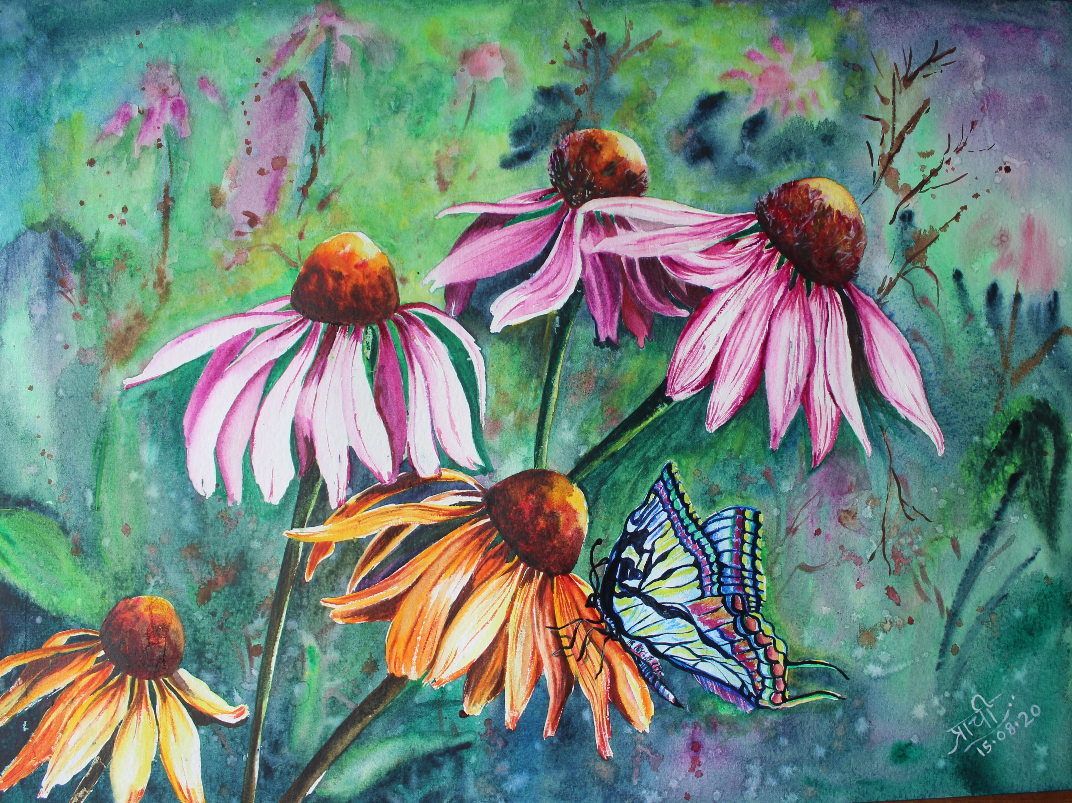 Cone Flower, Painting by Prachi Gorwadkar