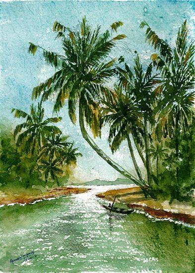 kerala backwaters painting by emerging artist ramessh