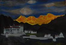 Ladakh monestry, painting by Ranjana Kashyap