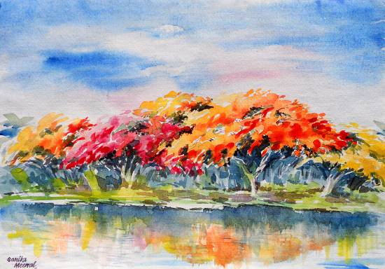 Tree Scape, painting by Sanika Dhanorkar