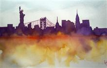 Painting by Sarabjit Kaur - NYC skyline