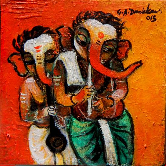 Ganesha playing flute, Painting by Artist G A Dandekar