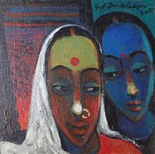 Mother Daughter, Painting by G. A. Dandekar