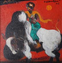 Paintings by G A Dandekar - Playing with Bull