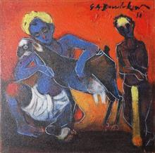 Paintings by G A Dandekar - Man with Goat