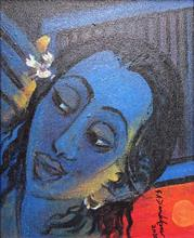 Paintings by G A Dandekar - Lady with Bird