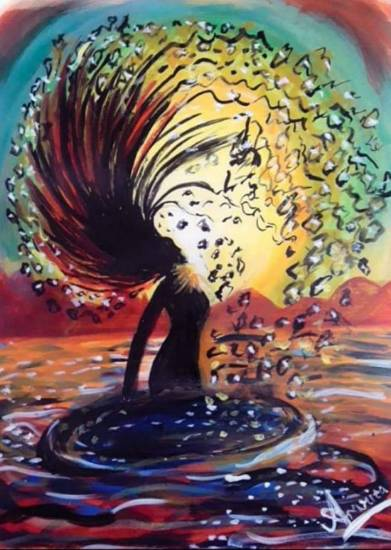 Hair flipping girl at the beach, Painting by Amrita Kaur