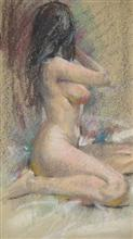 Painting by John Fernandes - Nude Figure (Sensuous)