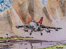 Jet fighter taking off!, painting by Subhash Bhate