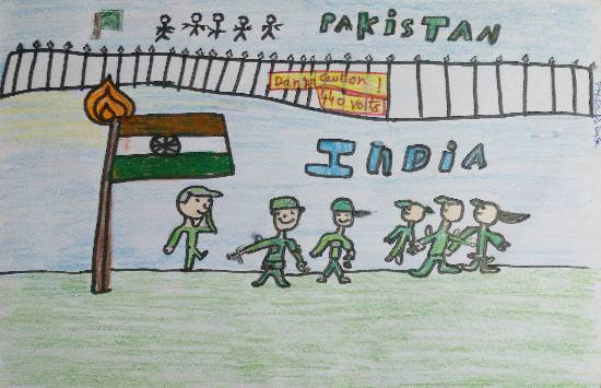 painting by Param Aanup Shorewala - India vs Pakistan