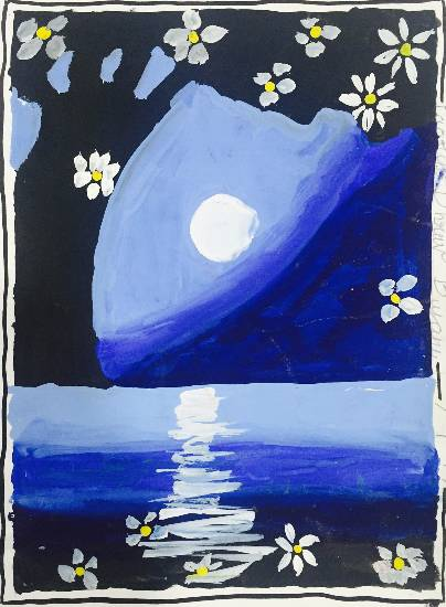 painting by Paarth Biyani - Moon light