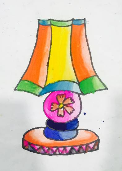 painting by Paarth Biyani - Table Lamp
