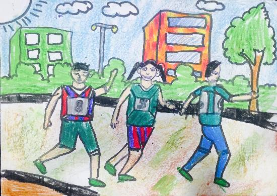 painting by Paarth Biyani - Sports Day