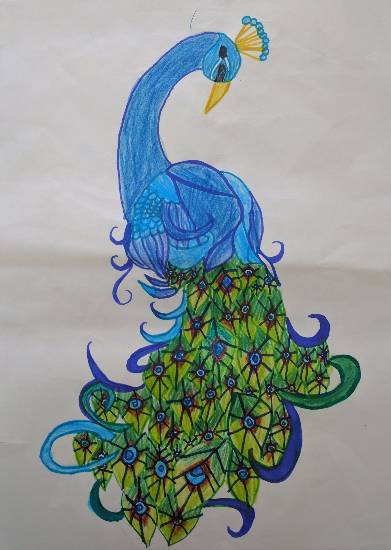 painting by Sharanya Das - Dancing Peacock