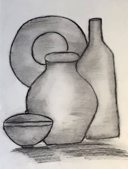 painting by Sharanya Das - Pots and pans