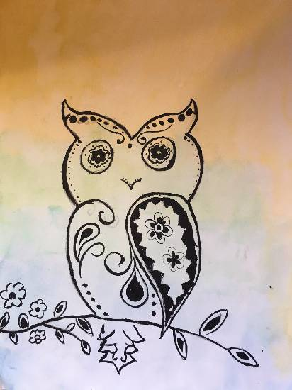 My obedient owl, painting by Sharanya Das