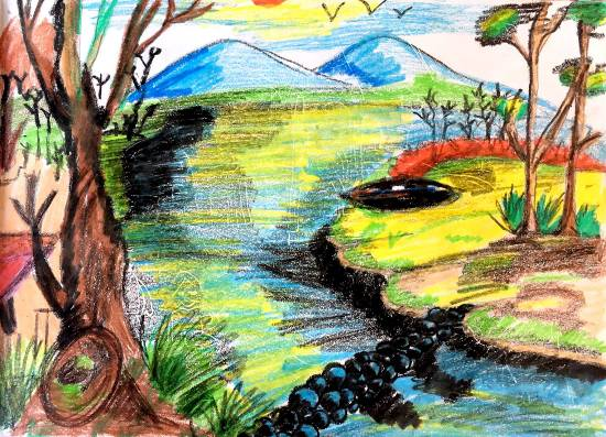 Scenery, painting by Sharanya Das