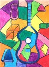 Painting  by Sharanya Das - Guitar (Pablo Picasso)