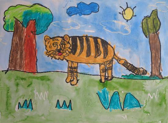 painting by Mayraa Nemish Kothari - Tiger