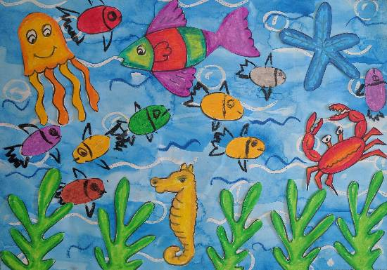 Painting  by Ruhaan Hasmukh Jain - Fishes