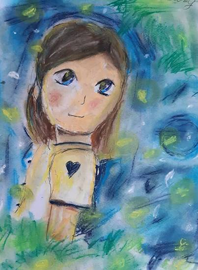 Painting  by Sreebhadra Suraj - A Girl Loving Fireflies
