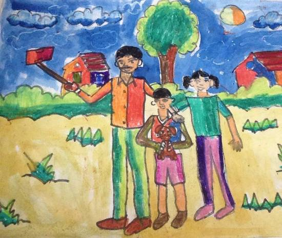 painting by Utkkarsh Darshan Mehta - Family selfie
