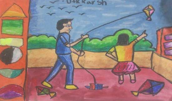 Kite flying, painting by Utkkarsh Darshan Mehta