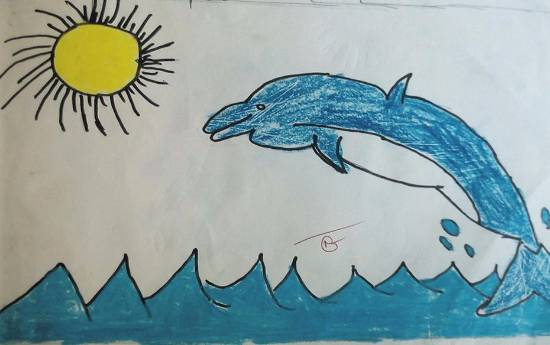 painting by Kanishka Kiran Tambe - Dolphin
