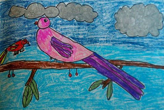 painting by Kanishka Kiran Tambe - Mumma and baby bird