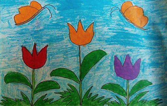 Painting  by Kanishka Kiran Tambe - Tulip with butterfly