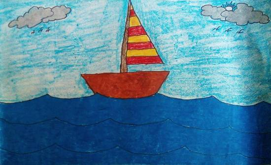 Painting  by Kanishka Kiran Tambe - Boat sailing
