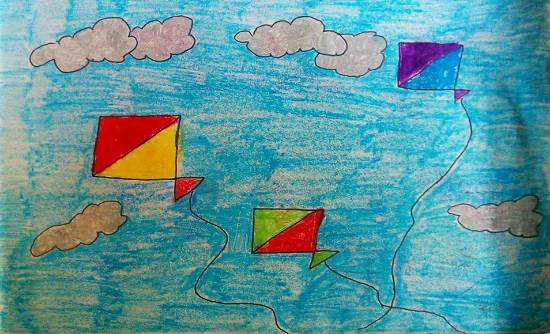 Painting  by Kanishka Kiran Tambe - Kites in sky